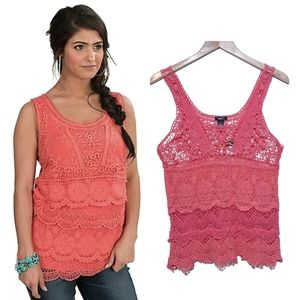 Rue 21 Coral Pink Lace Layering Tank Top NWT